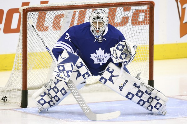Nov 30, 2015; Toronto, Ontario, CAN; Toronto Maple Leafs goalie Garret Sparks (31) warms up before his NHL debut against the Edmonton Oilers at Air Canada Centre. Mandatory Credit: Tom Szczerbowski-USA TODAY Sports