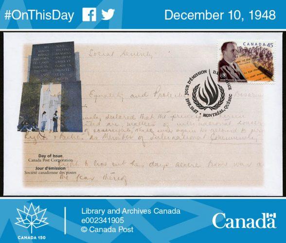 #OnThisDay. В этот день в Канаде. Декларация прав человека
